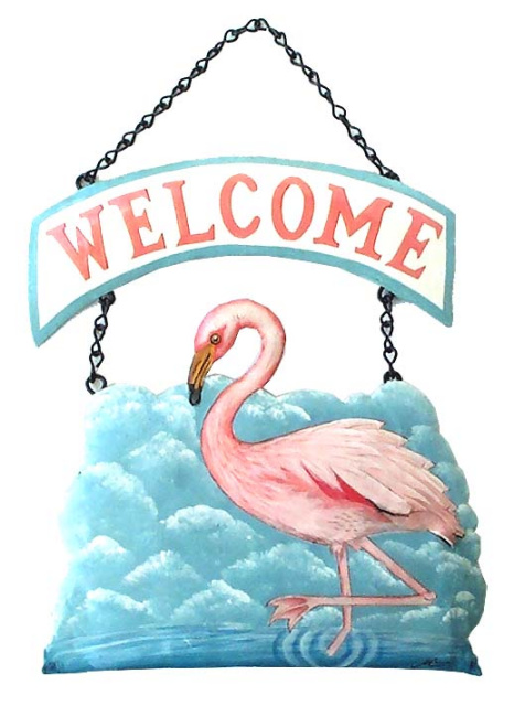painted metal flamingo welcome sign