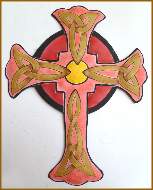 painted metal cross wall decor