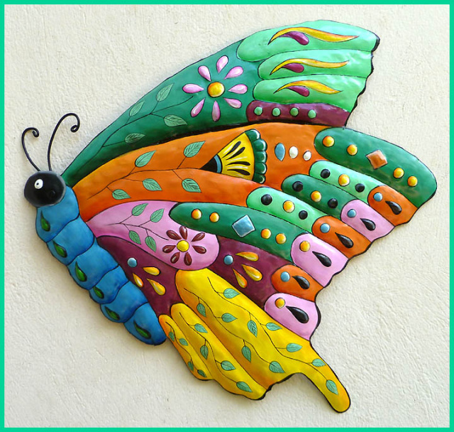 painted metal butterfly wall hangi