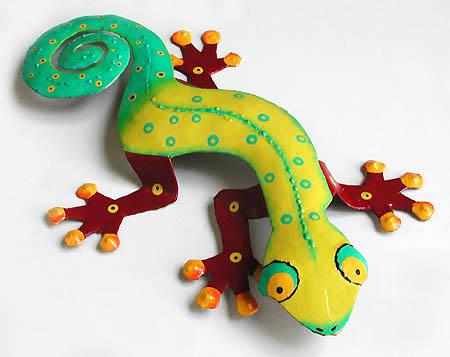 painted metal gecko