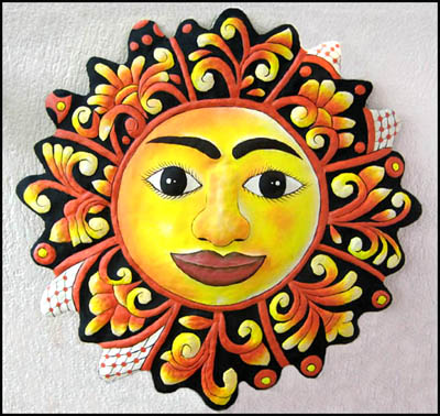 painted metal sun wall hanging