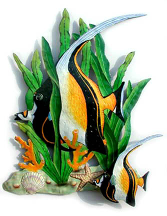 Hand painted metal tropical fish